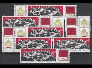 1598-1600 Potsdamer Abkommen 1970, 6 Zusammendrucke und 3 Ezm, Set postfrisch **