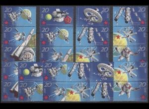 1636-1643 Weltraumflug 1971, 14 ZD mit 4x3er und 10x2er und 8 Ezm, Set **