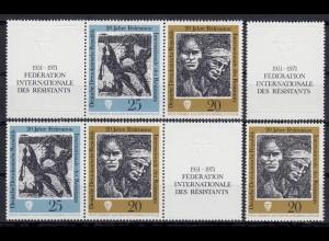 1680-1681 FIR Widerstandskämpfer 1971, 6 ZD + 2 Ezm, Set postfrisch