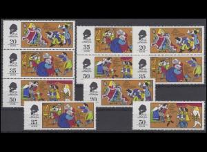 2096-2098 Märchen: Des Kaisers neue Kleider 1975, 3 ZD + 3 Ezm, Set postfrisch