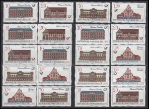 3067-3070 Historische Postgebäude 1987, 16 ZD + 4 Ezm, Set postfrisch