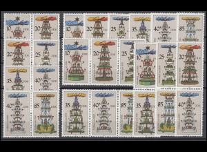 3134-3139 Weihnachtspyramiden aus dem Erzgebirge, 9 ZD + 6 Ezm, Set postfrisch