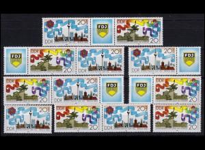 3248-3249 Pfingsttreffen der FDJ 1989, 6 Zusammendrucke + 2 Ezm, Set postfrisch