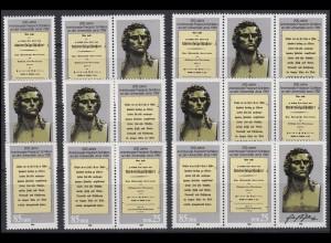 3254-3255 Friedrich Schiller & Universität Jena 1989, 6 ZD + 2 Ezm, Set **