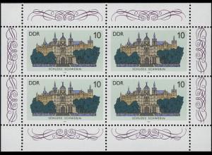 3032 Schlösser-Kleinbogen 4x 10 Pf, postfrisch