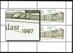 3078 Friedrichstadtpalast-Kleinbogen, PLF I Strich, Feld 2, **