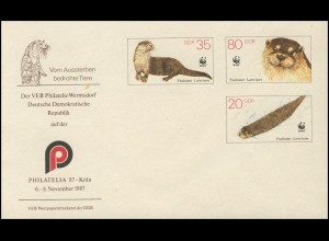 U 7 Naturschutz WWF Fischotter 1987, Zudruck Köln, postfrisch