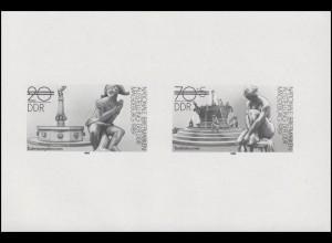 3265-3266 S Schwarzdruck der DDR Magdeburg 1989 Briefmarkenausstellung