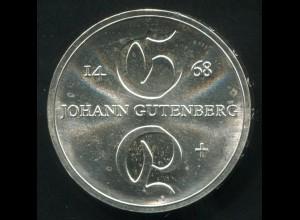 Gedenkmünze Johannes Gutenberg 10 Mark von 1968, vorzügliche Erhaltung