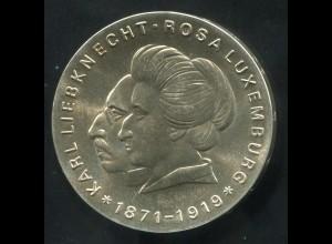 Gedenkmünze Liebknecht und Luxemburg 20 Mark von 1971, vorzügliche Erhaltung