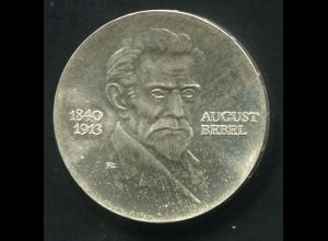 Gedenkmünze August Bebel 20 Mark von 1973, vorzügliche Erhaltung