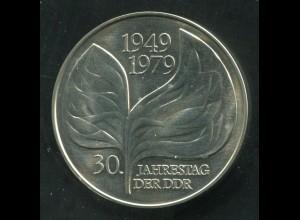 Gedenkmünze PROBE 30 Jahre DDR 20 Mark von 1979, vorzügliche Erhaltung