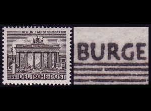 42XIII Berliner Bauten 1 Pf, PLF XIII [TM 5] ** - Linienbruch unter dem U