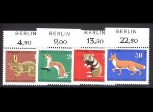 299-302 Jugend Hochwild 1967 - OR-Satz mit BERLIN-Zudruck, postfrisch **