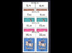 348-351 Wofa 1969 - BERLIN-Zudruck, Oberrand-Paare, Satz **