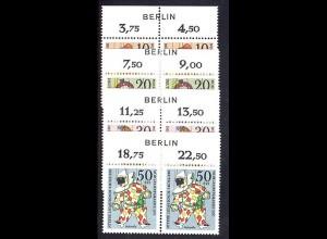 373-376 Wofa Marionetten 1970 als OR-Paare mit BERLIN-Zudruck, Satz **