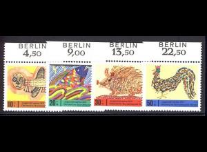 386-389 Jugend 1971 als Oberrand-Satz mit BERLIN-Zudruck, postfrisch **