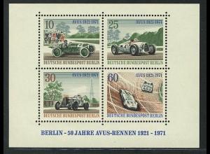 Block 3 AVUS-Rennen 1971, postfrisch