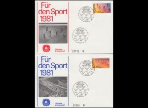 Berlin 645-646 Sporthilfe 1981: Gymnastik und Volkslauf auf 2 amtl. FDC