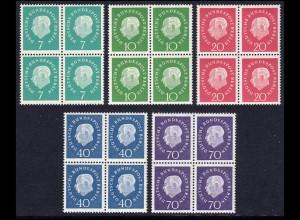 182-186 Heuss, 5 Werte, Viererblöcke, Satz ** postfrisch