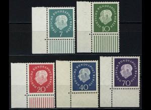 182-186 Heuss, 5 Werte komplett - Ecke unten links ** postfrisch