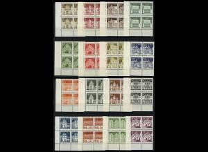 270-285 Bauwerke groß 16 Werte, Eckrand-Viererblöcke unten links, Satz **