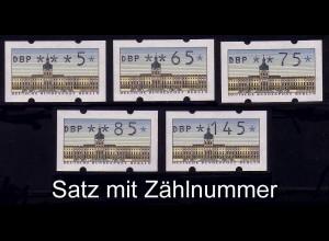 ATM Berlin, 5 Werte: 5-145 Pf, mit Zählnummer, Satz ** postfrisch