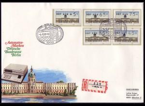ATM Berlin, 5 Werte: 5-145 Pf, Satz auf 1 FDC mit ESSt Berlin