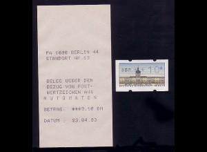 ATM Berlin, Einzelmarke mit passender Quittung vom MWZD