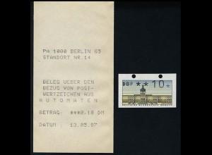ATM Berlin, Einzelmarke mit geschlossenen Löchern oben mit Automaten-Quittung