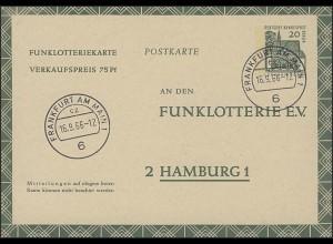 Funklotterie FP 8 Lorsch/Hessen 20 Pf, VS-O Frankfurt/M