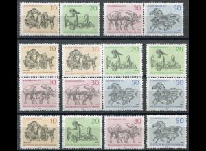 338-341 Berliner Zoo aus Block 2 mit 5 Zusammendrucken + 4 Einzelmarken, Set **