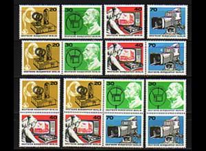 455-458 Deutscher Rundfunk 1973 aus Block 4 mit 5 ZD und 4 Einzelmarken, Set **