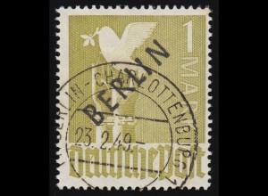 17c Schwarzaufdruck 1 Mark O helloliv, gelbgrüne Fluoreszenz geprüft