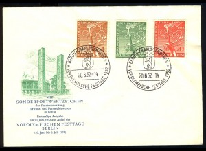 88-90 Vorolympische Festtage 1952, 3 Werte, Satz - amtlicher FDC