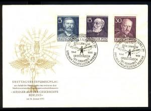 92+96+99 Männer Berlins 5+15+30 Pf. Lilienthal Virchow Planck - amtlicher FDC
