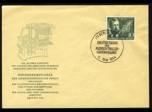 117 Ottmar Mergenthaler 1954 - amtlicher FDC