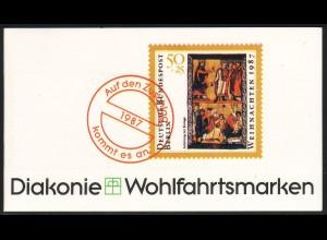 Diakonie/Weihnachten 1987 Anbetung der Könige 50 Pf, 5x797, postfrisch