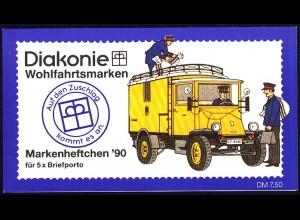 Diakonie/Wofa 1990 Elektro-Paketzustellwagen 100 Pf, 5x878, postfrisch
