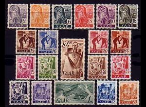 206-225 Freimarken 1947, 20 Werte, Satz ** postfrisch / MNH