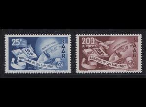 297-298 Europarat 1950 Saarland - Vorläufer Europaunion, Satz postfrisch **