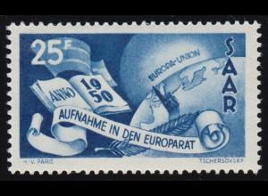 Saarland 297 Europarat 25 Fr 1950, **