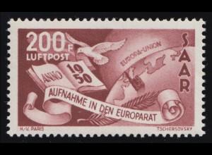 Saarland 298 Flugpostmarke Europarat 200 Fr 1950, ** geprüft