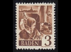 Baden 2yv II Trachtenmädchen 3 Pf. **
