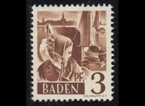 Baden 2yv III Trachtenmädchen 3 Pf. **