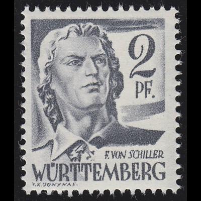 Württemberg 1yv Freimarke 2 Pf., postfrisch **