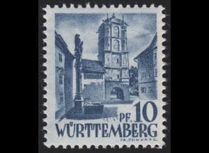 Württemberg 3yv Freimarke 10 Pf. **