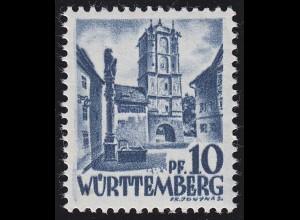Württemberg 3yv I Freimarke 10 Pf., postfrisch **