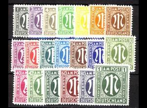 16-35 AM-Post, Deutscher Druck, 20 Werte komplett postfrisch ** / MNH