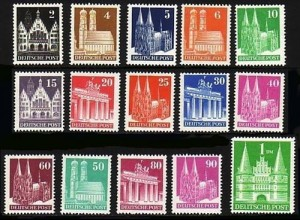 73-97 Bautenserie 1948 - eng gezähnt, 15 Werte komplett, Satz postfrisch **